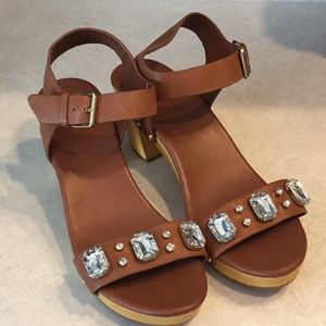 Kate Spade Heeled Jeweled Brown Sandals Size 11